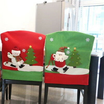 Santa Claus Snowman Elk Chair Cover for Christmas Kitchen Dinner Decoration BS