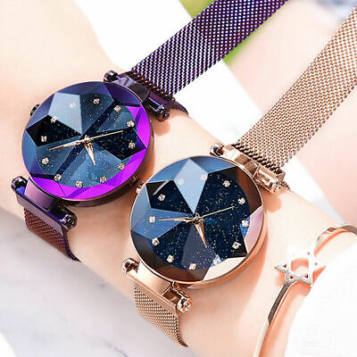 Starry Sky Watch Magnet Strap Free Buckle Stainless Steel Women Gift UK SELLER