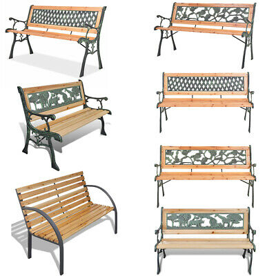 3 Seater Outdoor Wooden Garden Bench Cast Iron Legs Park Seat Furniture Chair UK