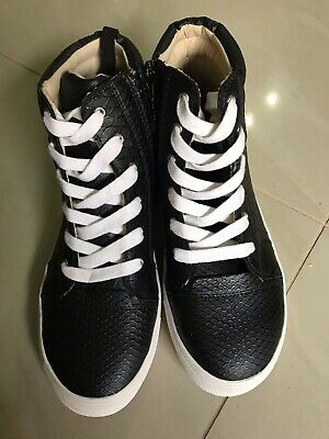 New Women High Top Lace Up Black Python Sneaker Size 37