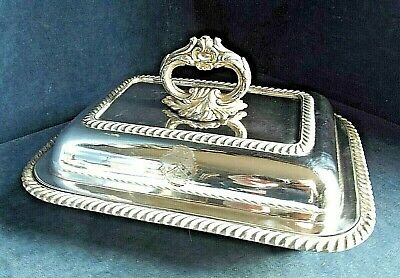 "GOOD Large 12"" ~ SILVER Plated ~ Family CRESTED ~ SERVING DISH ~ c1830"