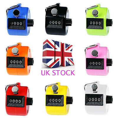 UK Mechanical Manual Palm Clicker Click 4 Digit Hand Counter Count Number Tally