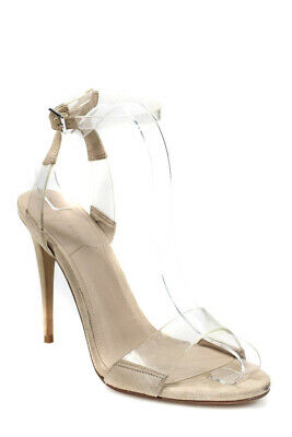 bde6236d2383ef Kendall + Kylie Womens Clear Ankle Strap High Heel Suede Sandals Beige Size  9