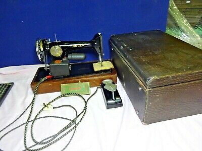 Vintage Electric Singer Sewing Machine 201K With Original Case And Tools