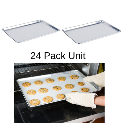 "24 Baking Sheet Pans 18"" x 26"" Full Size Aluminum Bun Pan Set of 12 Wire in Rim"