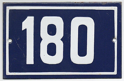 Old blue French house number 180 door gate plate plaque enamel steel metal sign