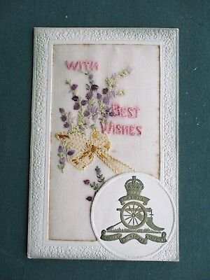 Ww1 Embroidered Silk - With Best Wishes - Royal Artillery Regimental Badge