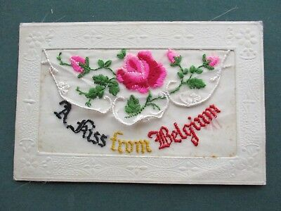 Ww1 Embroidered Silk - A Kiss From Belgium