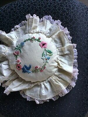 Vintage  Floral Embroidered Pillow Ring Cushion