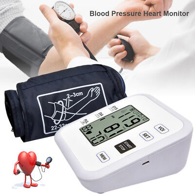 Automatic Digital Blood Pressure Monitor Meter Upper Arm LCD Display 99 MEMORY W
