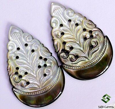 Natural Mother Of Pearl Shell Hand Made Carving Pair 43x25 mm Gemstone 55.58 Cts