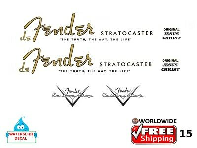 Fender Stratocaster Guitar Decal Headstock Inlay Decal Restoration Logo 15