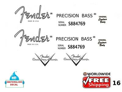 Fender Precision Bass Guitar Decal Headstock Inlay Decal Restoration Logo 16