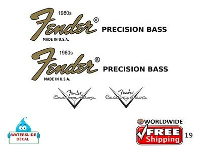 Fender Precision Bass Guitar Decal Headstock Inlay Decal Restoration Logo 19