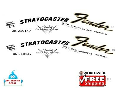 Fender Stratocaster Left hand Guitar Decal Headstock Inlay Restoration Logo 61