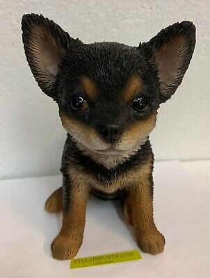 "Sit Up Black and Tan Chihuahua Puppy Dog Pet Pal 6.5""H Figurine Statue"