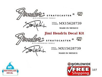 Fender Stratocaster Jimi Hendrix Guitar Decal Headstock Restoration Logo 107