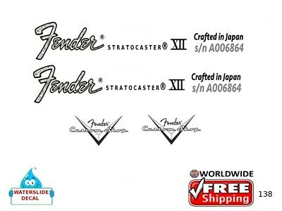 Fender Stratocaster Japan Guitar Decal Headstock Inlay Restoration Logo 138