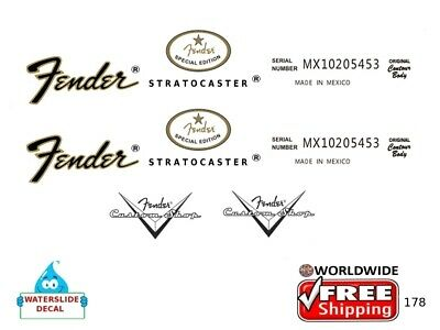 Fender Stratocaster Guitar Decal Headstock Inlay Restoration Logo 178