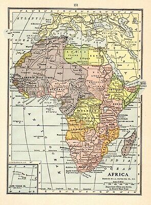 1931 Antique Map of Africa Vintage Africa Map Gallery Wall Art smap 6414