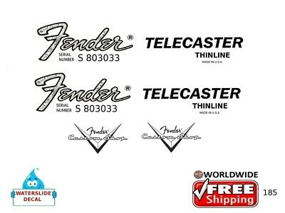 Fender Telecaster Thinline Guitar Decal Headstock Inlay Restoration Logo 185