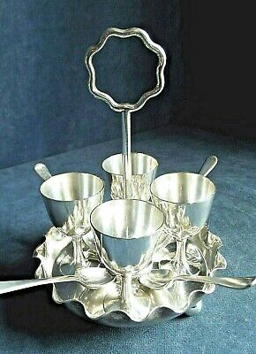 SUPERB ~ SILVER Plated ~ 9 Piece EGG Cup Breakfast SET ~ c1890 by Mappin & Webb