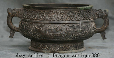 "11"" Collect Old Chinese Bronze Beast Head Handle Dragon Fly Horse Censer Marked"