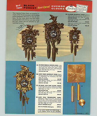 1957 PAPER AD Black Forest Hand Carved Cuckoo Clock Style King Brass Glass Moon