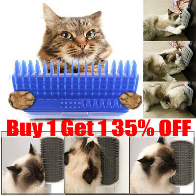 Cat Pet Self Groomer Brush Wall Corner Grooming Hair Comb Massage Tool Toy GN