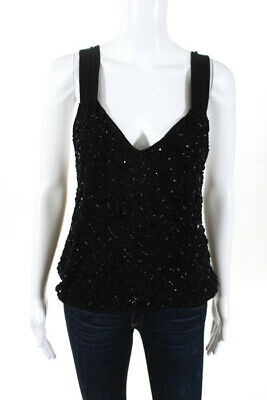 f0cdd1f25fe Alice + Olivia Womens Top Size Small Black Tank Top Beading Detail