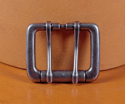 Double Pin Roller Prong Pin Belt Buckle Fits 40MM Tongue Leather Belts Straps