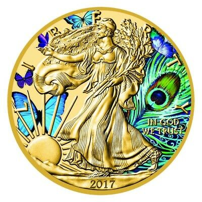 "USA 1$ 2018 1 oz Silver ""Butterflies & Peacock Eagle"" Coin Colorized Gold Plated"