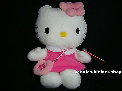 "Hello Kitty Plüsch ""Rosa mit Tasche"" 16 cm Stofftier-Figur Kittie Kitti Bean Bag"