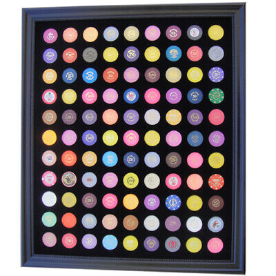 20x24 BLACK DISPLAY FRAME FOR 99 CASINO POKER CHIPS (NOT INCLUDED)
