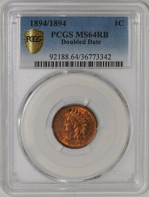 1894/1894 Indian Head Cent 1c Doubled Date #939042-1 MS64 RB Secure Plus PCGS
