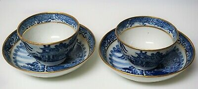 Antique Chinese Export Two Tea Bowls Cups Blue White 18th Century