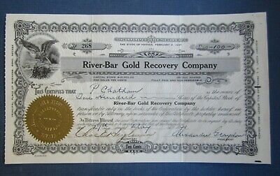 Old 1941 RIVER-BAR Gold Recovery Co. - MINING Stock Certificate - Nevada