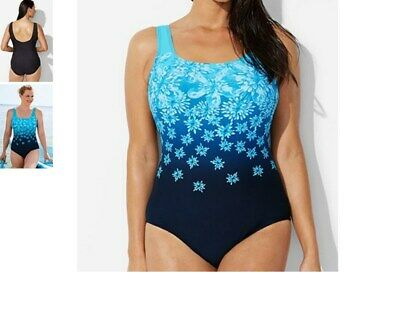 d53dae302 plus size woman within AQUABELLE sporty tank MAILLOT swimsuit 18 kiran  floral s2