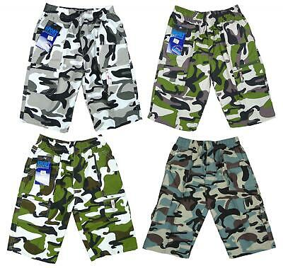 Boys Microfibre Army Camo Camouflage Combat Fashion Shorts 3 to 14 Years NEW