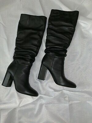 3dd18af6857 STEVE MADDEN ETON Tall Block-Heel Boots Black Leather sz 10 -  57.85 ...
