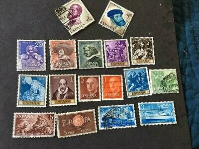 Lot of 17 Spain Stamps, all diff., removed from stamp album, current value ?
