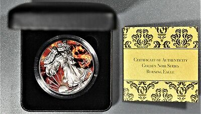 2017 AMERICAN SILVER BURNING EAGLE  Ruthenium & COLORIZED 1oz .999 Box COA A8477