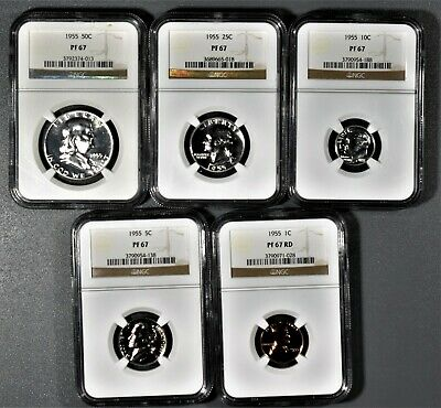 1955 Us Mint Silver Proof Set All Coins Ngc Certified Pf 67 A8475