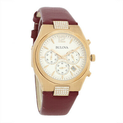 Bulova Crystal Ladies Rose Gold Plated Stainless Steel Quartz Watch 97M108