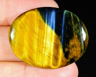 37 Ct Natural Blue  Pietersite Fire Tiger's Eye Oval Cabochon Loose Gemstone B01