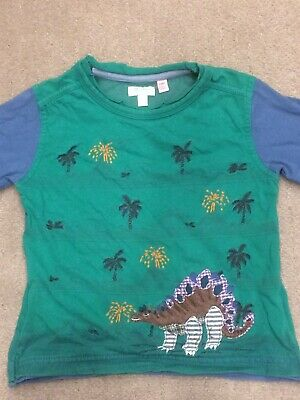 Monsoon Baby Boys 18-24 Months 1.5-2 Years Green Dinosaur Long Sleeve Top TShirt