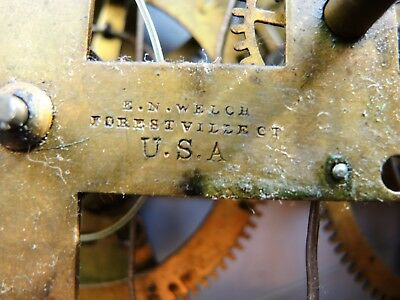 ANTIQUE AMERICAN KITCHEN wall CLOCK E.N. Welch BRASS MOVEMENT PARTS REPAIR GB