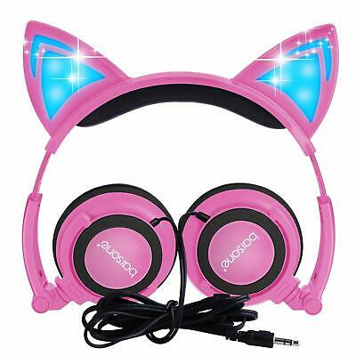Gaming Headset Foldable Flashing Glowing Cat Ear Headphones With LED Light Gift