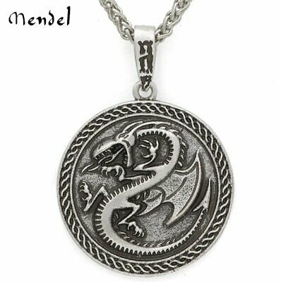 MENDEL Mens Celtic Vintage Gothic Dragon Pendant Antique Irish Amulet Necklace