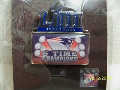 NFL licensed Super Bowl LIII logo & New England Patriots 6 time champions pin